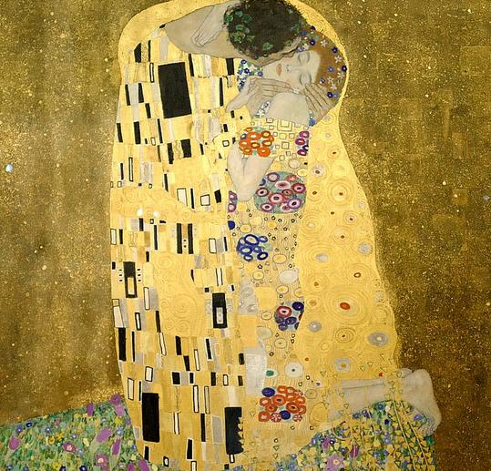 The Kiss painting, a man kissing a woman, with color as a dominant color in the painting