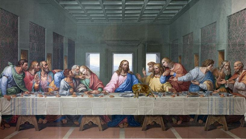 The Last Supper painting, Jesus and his disciples sitting